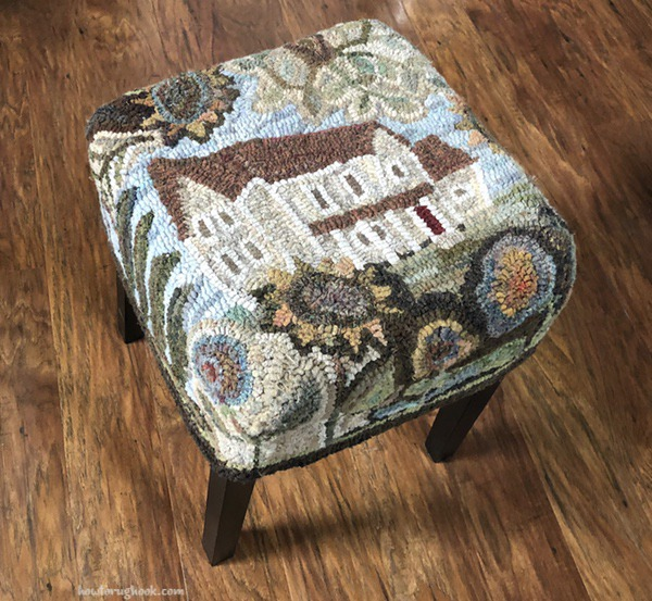 Wonky House hooked footstool by Cindi Gay, cindigayrughooking.com